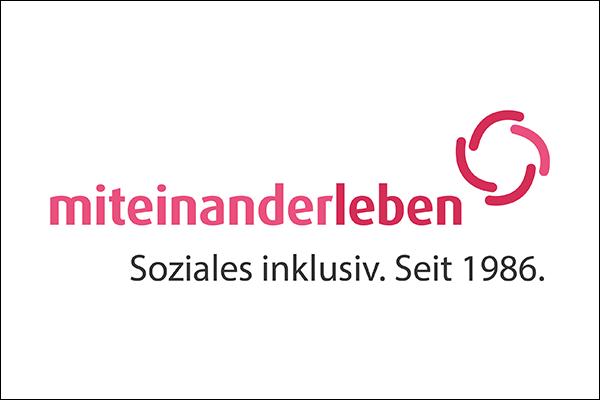 """Logo des Vereins miteinander leben mit dem slogan """"Soziales inklusiv. Seit 1986."""""""