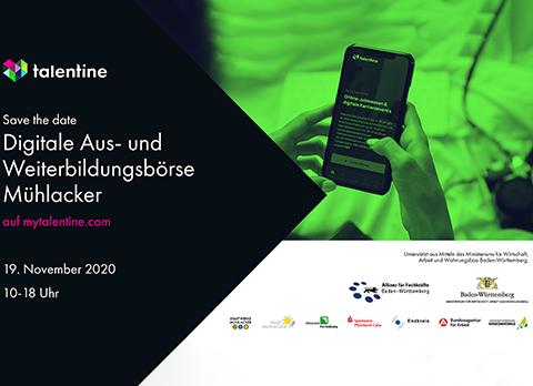 """Flyer der Veranstaltung """"Digitale Aus- und Weiterbildungsbörse Mühlacker 2020"""" der Fachkräfte-Allianz Nordschwarzwald"""
