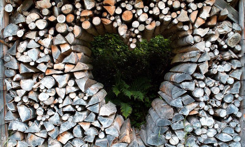 Werbung: Bild von einem Holzbrikett-Stapel mit einem Loch in Herzform in der Mitte