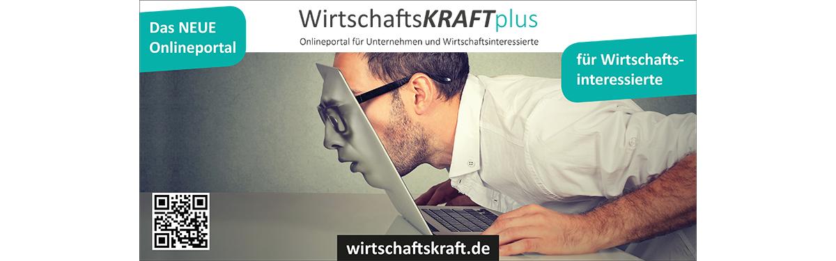 """Anzeige des Onlineportals der Wirtschaftskraft Plus mit dem Schriftzug """"für Wirtschaftsinteressierte"""""""