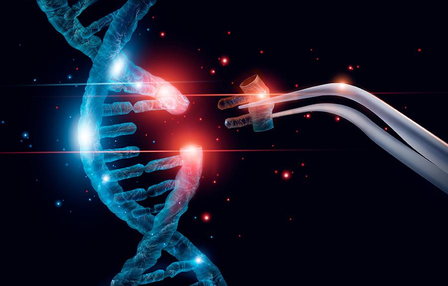 DNA-Strang mit dem etwas mit einer Pinzette hinzugefügt wird