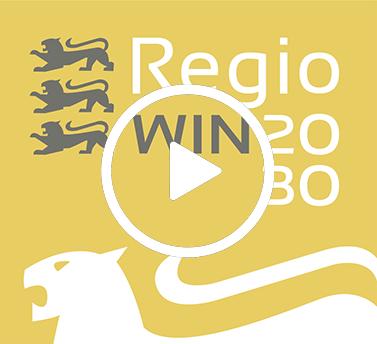 Logo RegioWIN 2030 mit einem Play-Button für ein Video