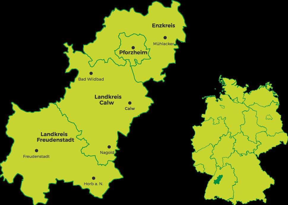 Links eine Karte vom Schwarzwald mit Kennzeichnung der Landkreisen und Städten, rechts eine Deutschlandkarte mit Kennzeichnung wo der Schwarzwald liegt