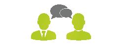 Icon: zwei Personen mit Sprechblasen, Hier könnte ihre Erfolgs-Story stehen!
