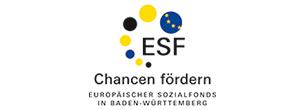 """Logo des Europäischen Sozialfonds in Baden-Württemberg mit dem Schriftzug """"Chancen fördern"""""""