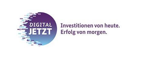 """Logo des Förderprogramms """"Digital Jetzt"""" mit dem Text: Investitionen von heute. Erfolg von morgen."""