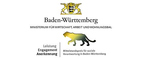 Logo des Ministeriums fpr Wirtschaft, Arbeit und Wohnungsbau, darunter: Logo des Mittelstandspreises für soziale Verantwortung Baden-Württemberg