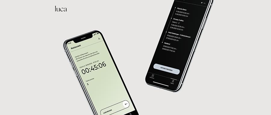 Zwei Smartphones die zeigen, wie die Luca App aussieht