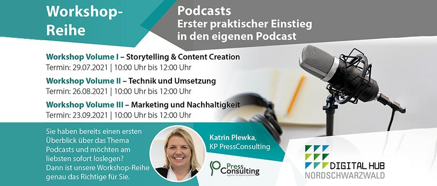 Flyer der Veranstaltungreihe Erster praktischer Einstieg in den eigenen Podcast vom Digital Hub Nordschwarzwald