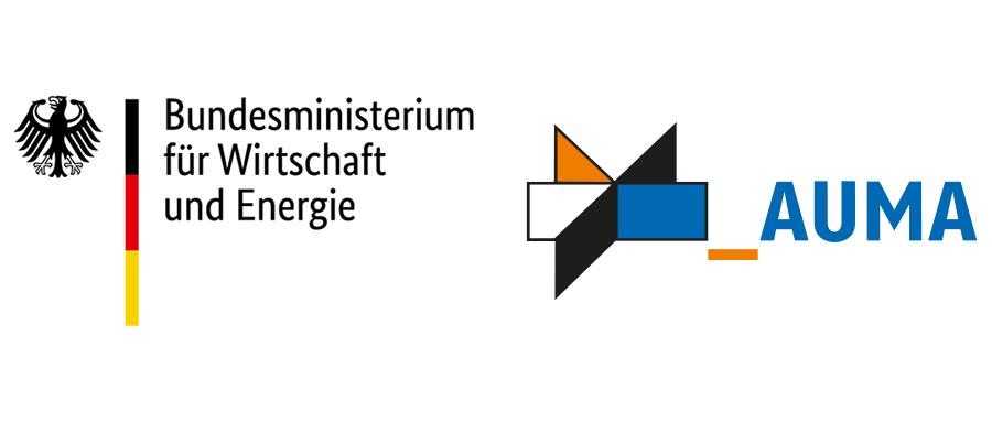 Logo des Bundesministeriums für Wirtschaft und Energie, daneben das Logo der AUMA